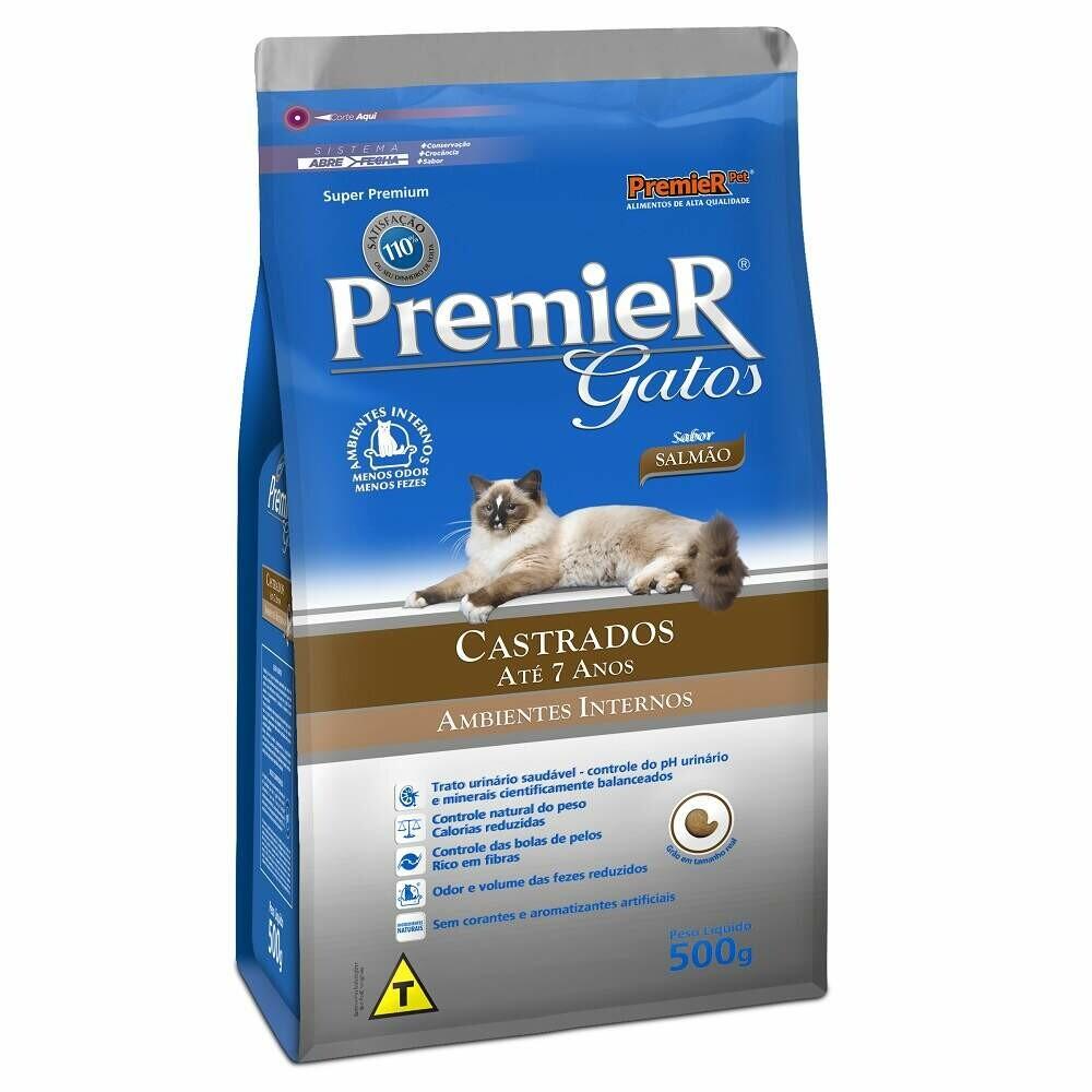Ração Premier Gatos Castrados 7 Anos Salmão 0,5kg