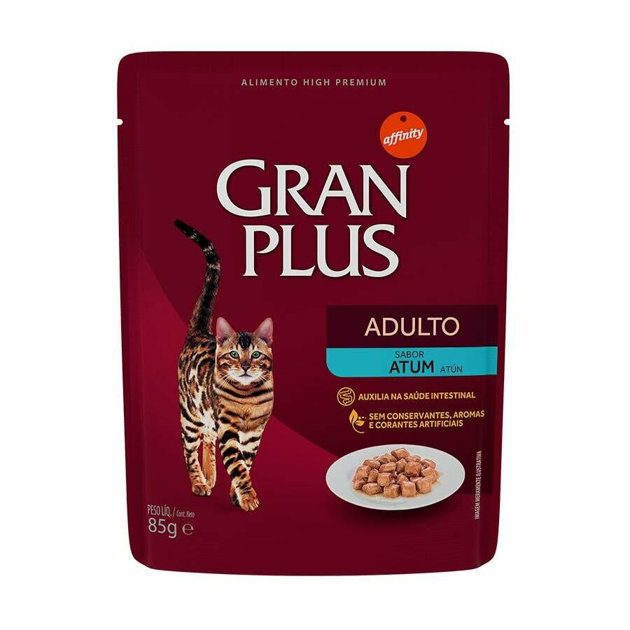 Ração Úmida Sachê Gran Plus Gatos Adultos Atum 85g