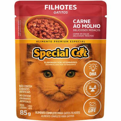Ração Úmida Sachê Speciat Cat Carne Gatos Filhotes - 85g