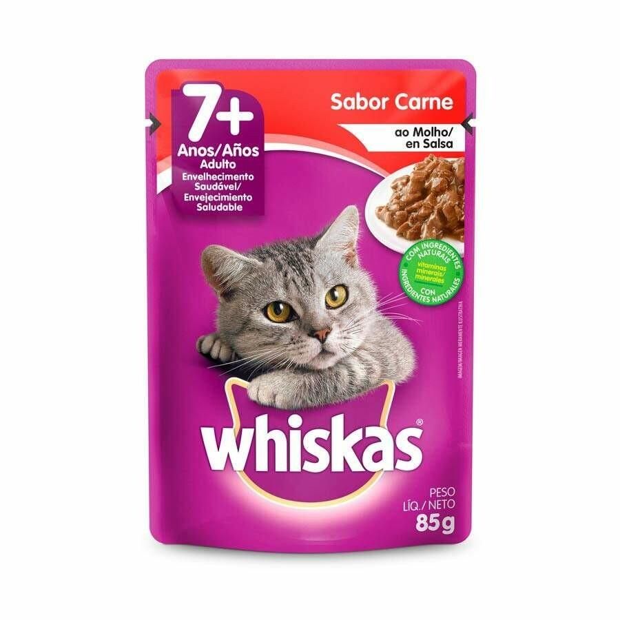 Ração Úmida Sachê Whiskas Carne Gatos Castrados 1+ 85g