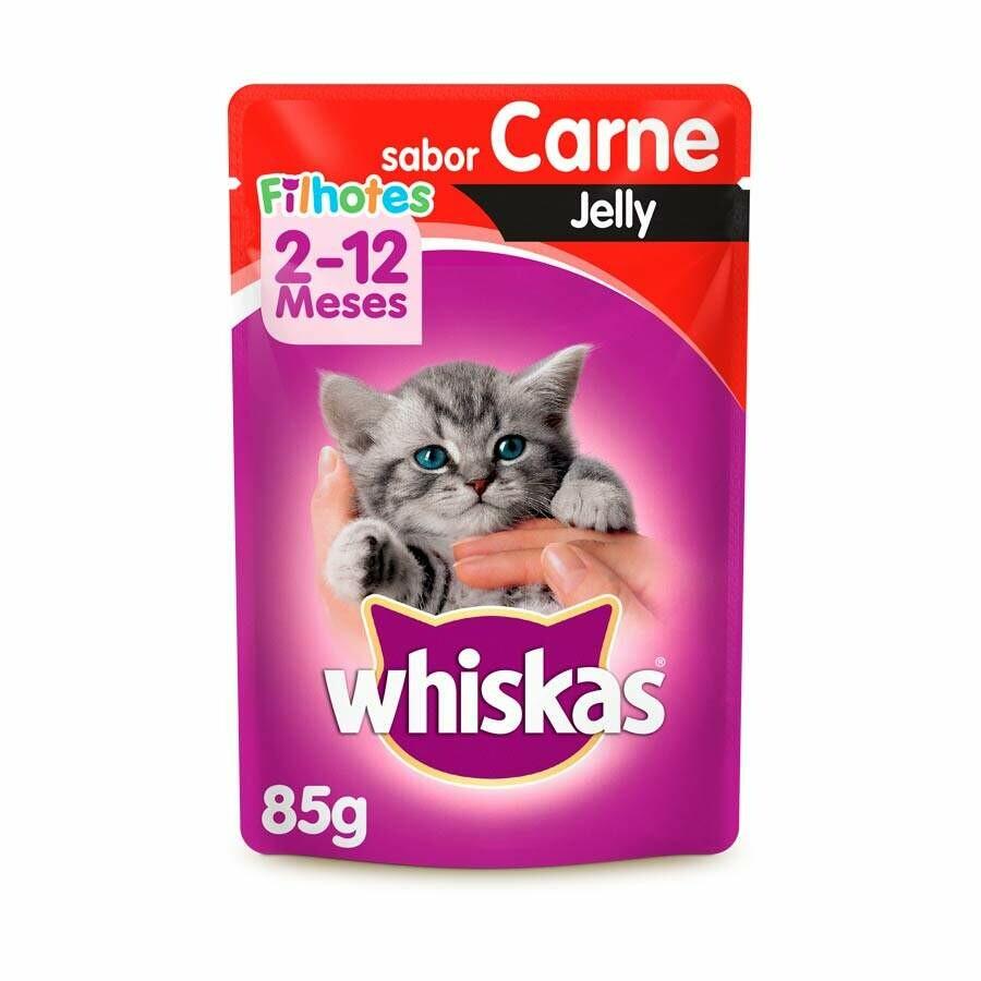 Ração Úmida Sache Whiskas Jelly Carne Filhotes - 85g