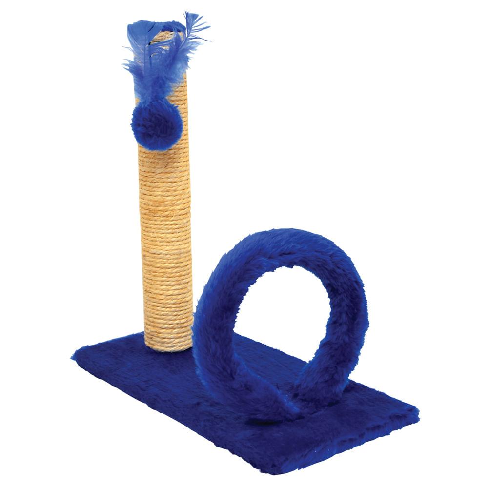 São Pet - Arranhador Retangular Argola Pelúcia Lisa Azul 42x21x44cm