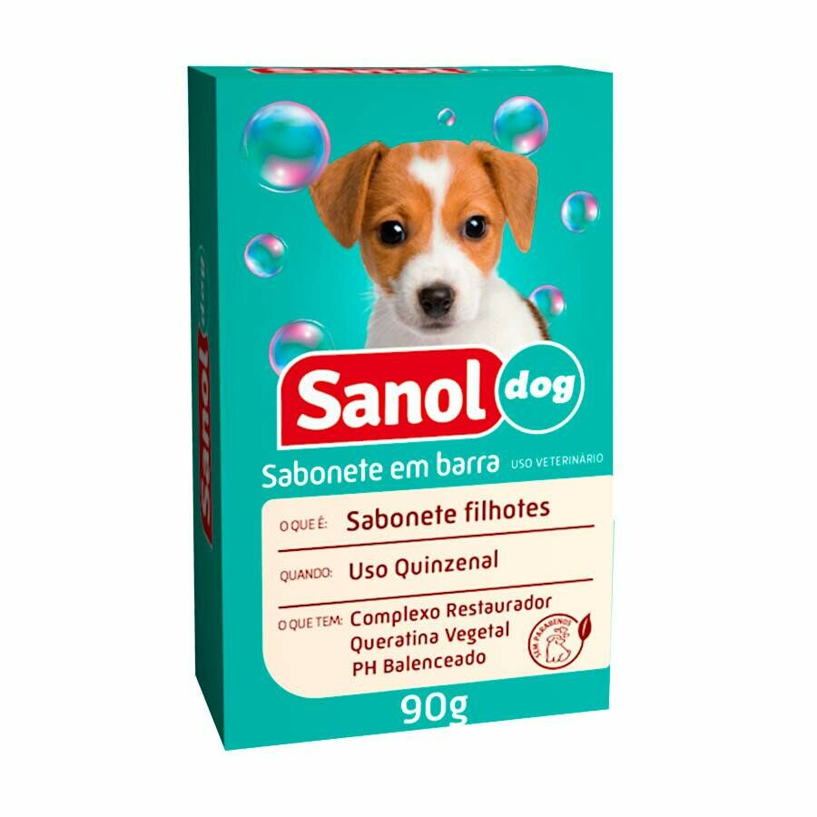 Sabonete em Barra p/ Cães Filhotes Sanol Dog 90g