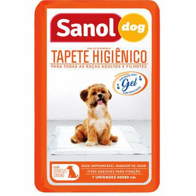 SanolDog - Tapete Higiênico Para Cães 80x60cm 07 Unidades
