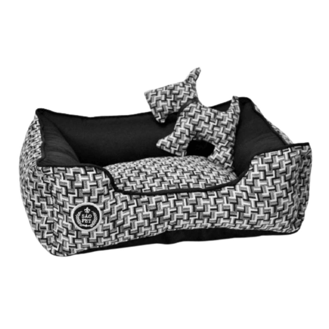 São Pet - Cama Rubi Black White Para Cães Tamanho P 42x55x17cm