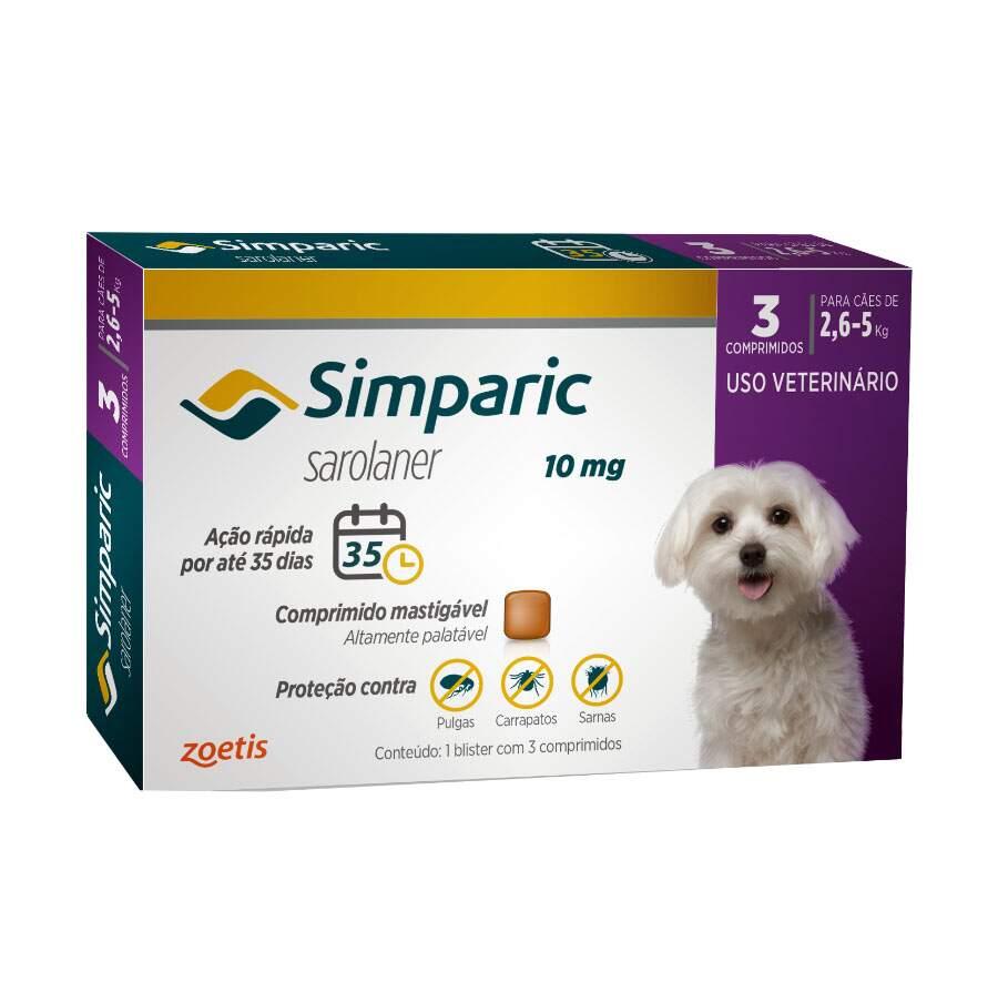 Simparic 10mg - Antipulgas e Carrapatos Cães 2,6 - 5Kg 3 Comprimidos