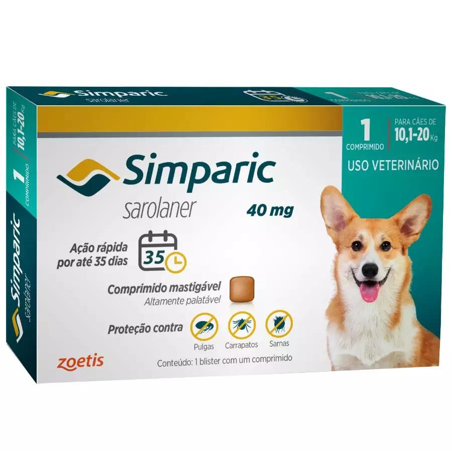Simparic 40mg - Antipulgas Carrapatos Caes 10,1 A 20kg 1 Comprimido