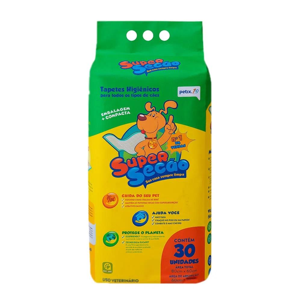 Super Secão Petix - Tapete Higiênico Cães 80x60cm 30 Unidades