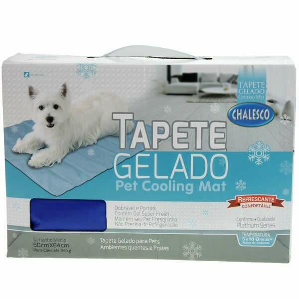 Tapete Gelado Refresca Calor Pet Azul 50x64cm - Tam. M