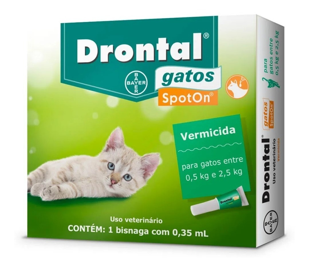Drontal SpotOn - Vermífugo Gatos 0,5Kg - 2,5Kg 0,35ml