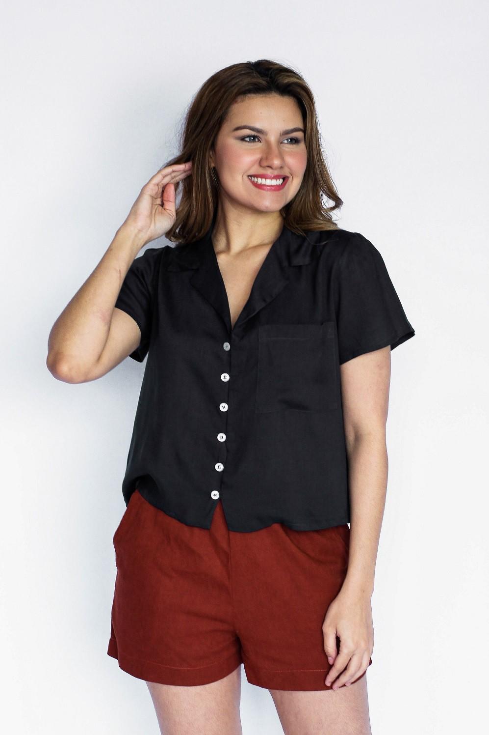 Bulsa cropped camisa em viscose