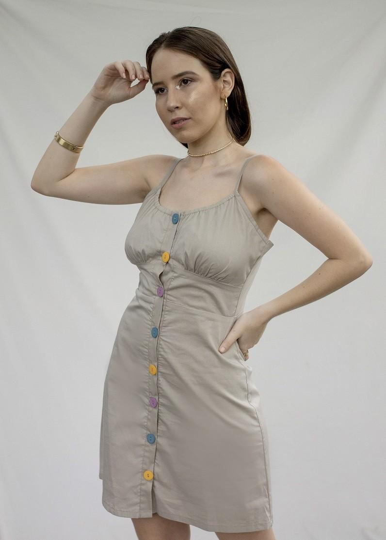 Vestido mini alça e botões colorido