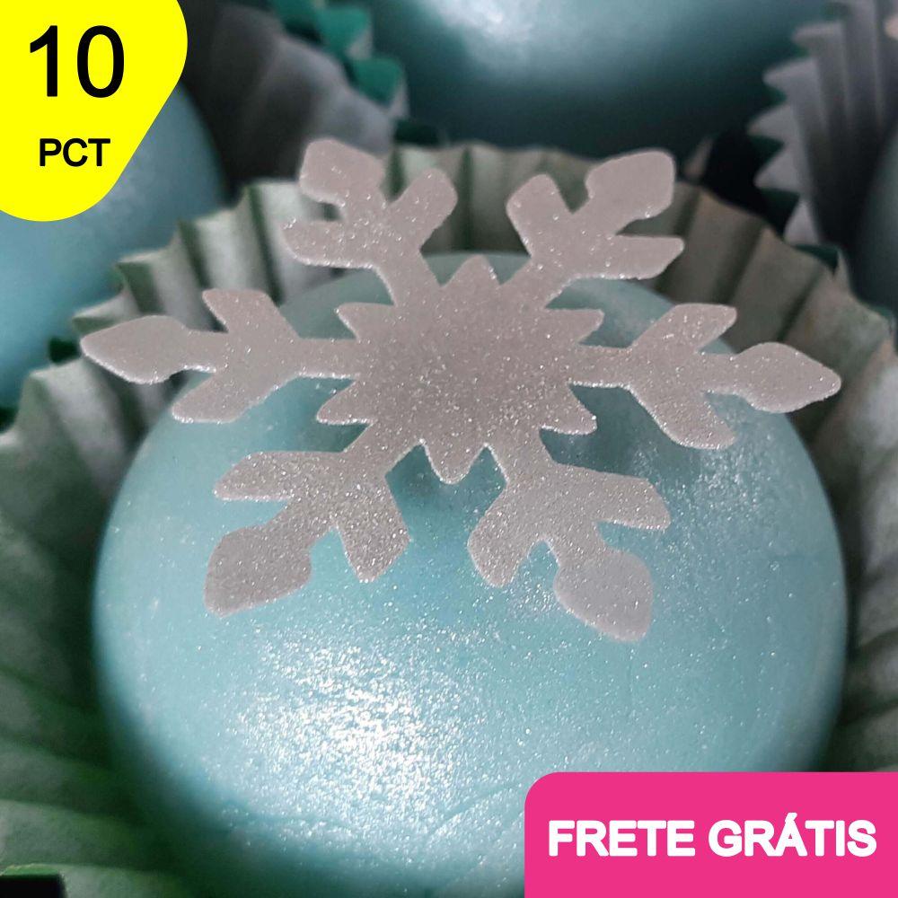 10 PCT C/ 100 Und de Papel Arroz Recortado - Floco de neve
