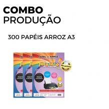300 Papéis Arroz A3 TIPO A (3 pacotes com 100 unidades)
