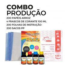 4 Frascos de corante 100ml + 200 Papéis Arroz + 200 Sacos PP + 200 Folhas de Instrução