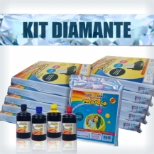KIT DIAMANTE - 10 Pacotes A4 + 1 Kit Corante 500ml + 1 Pacote para tortas e bolos