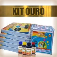 KIT OURO - 5 Pacotes A4 + 1 Kit Corante 100ml + 1 Pacote para tortas e bolos