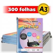 kit 3 pct Papel Arroz A3 -Tipo A -Fotobolo -a vácuo -100 fls