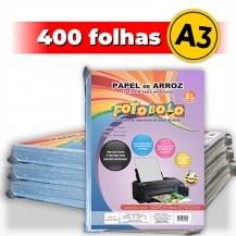 kit 4 pct Papel Arroz A3 -Tipo A -Fotobolo -a vácuo -100 fls