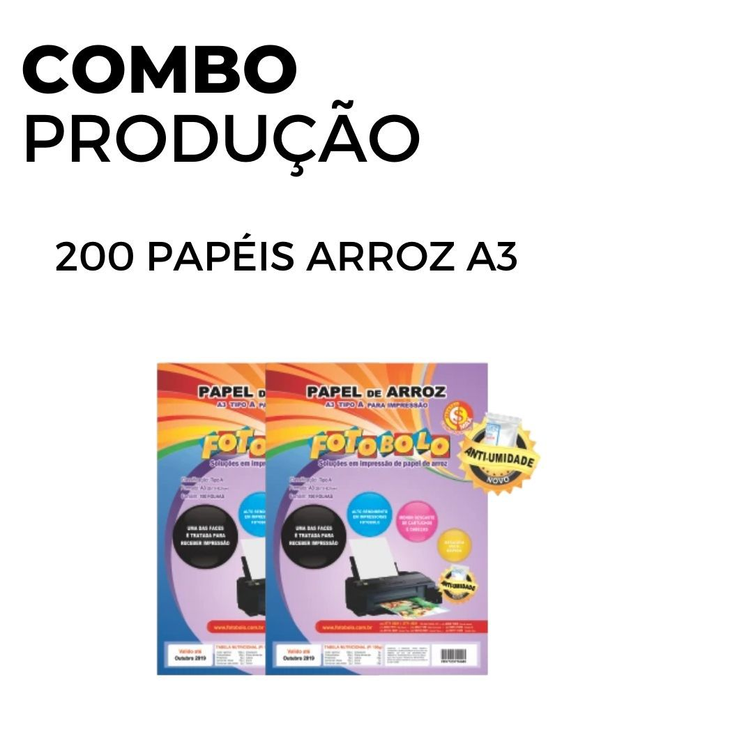 200 Papéis Arroz A3 TIPO A (2 pacotes de 100 und.)
