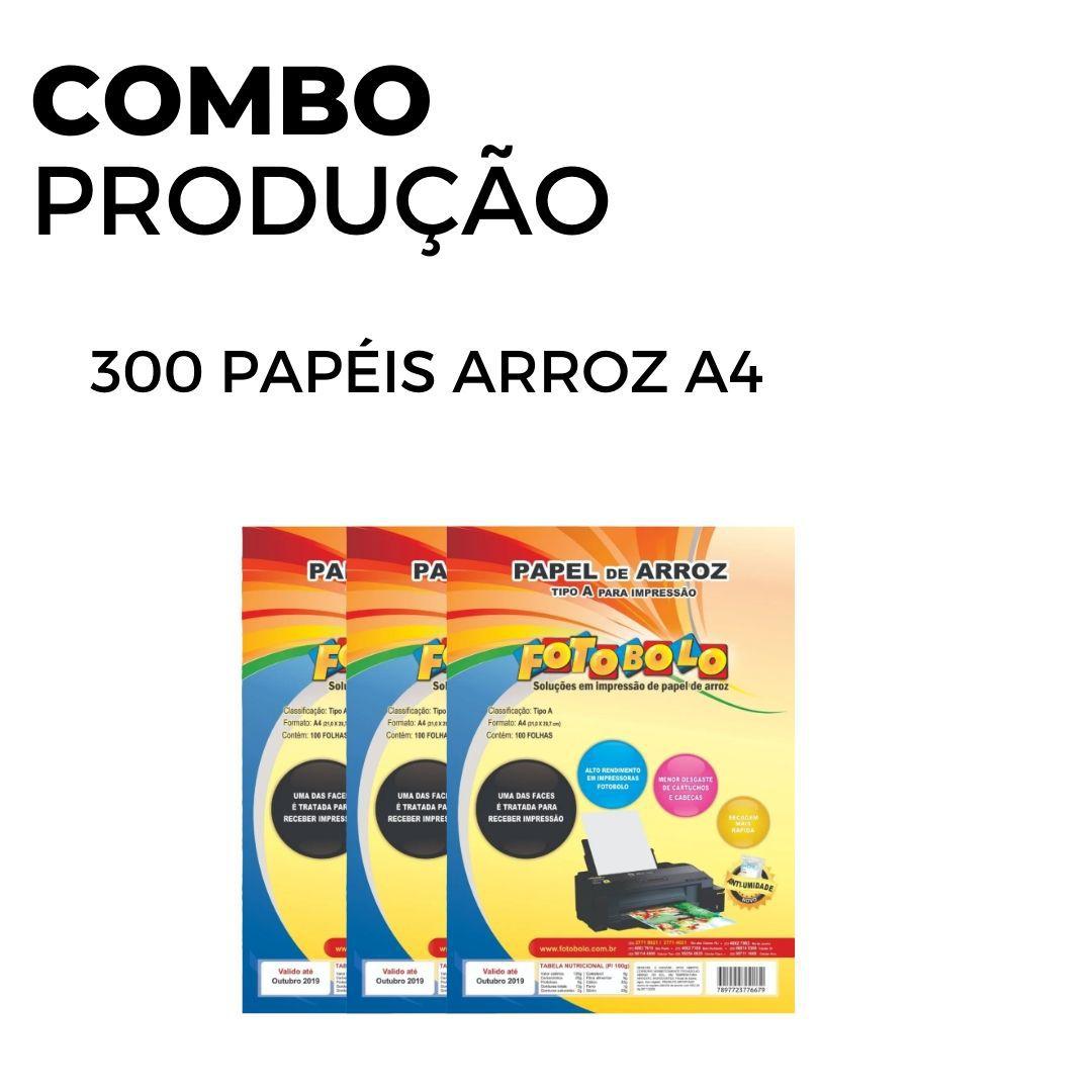 300 Papéis Arroz A4 TIPO A (3 pacotes com 100 unidades)