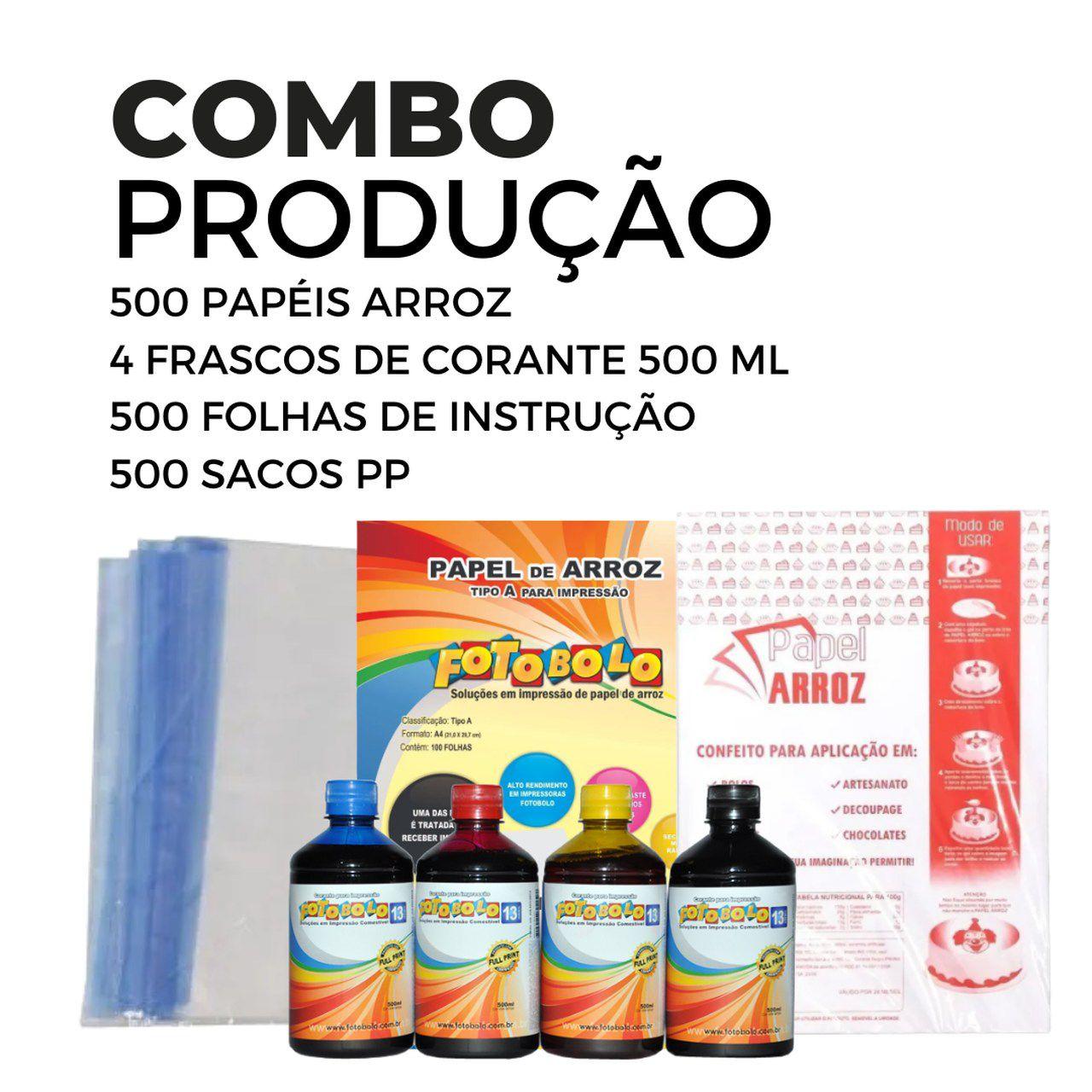 4 frascos de corante 500 ml + 500 Papéis Arroz + 500 Sacos PP + 500 Folhas de Instrução