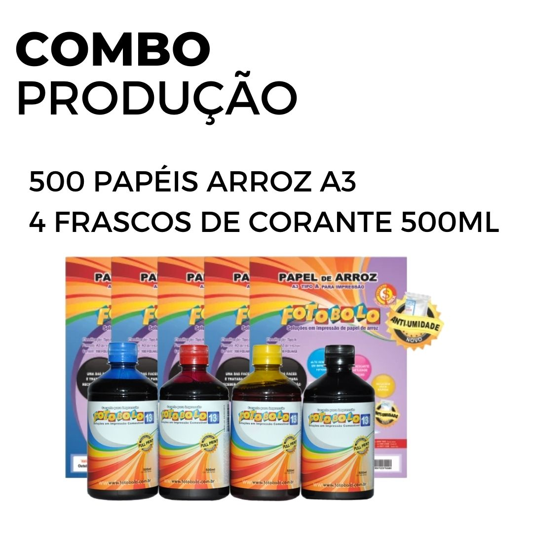 500 Papéis Arroz  A3 TIPO A + Kit de corante 500ml