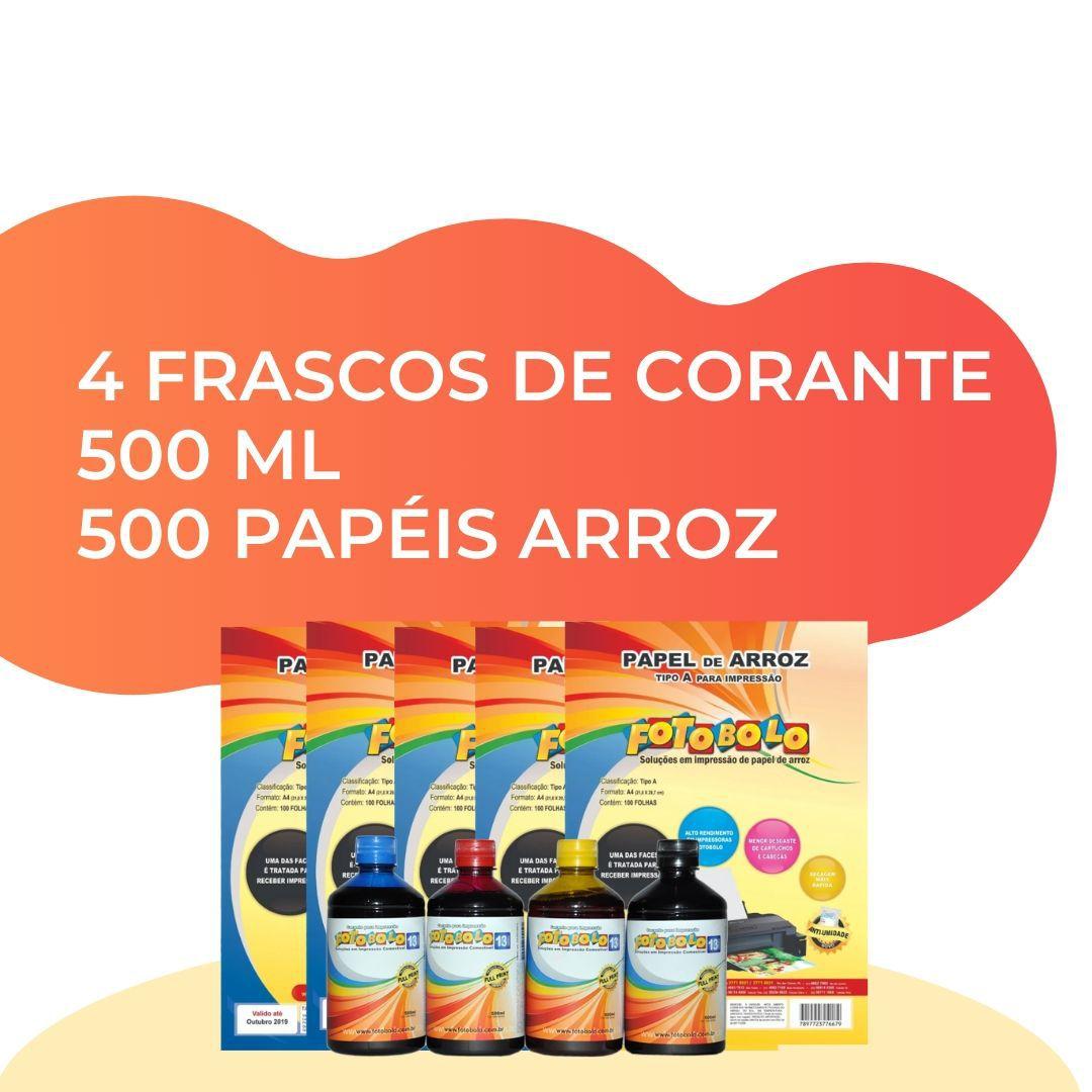 Combo 500 Papéis Arroz A4 TIPO A + 4 Corantes 500 ML