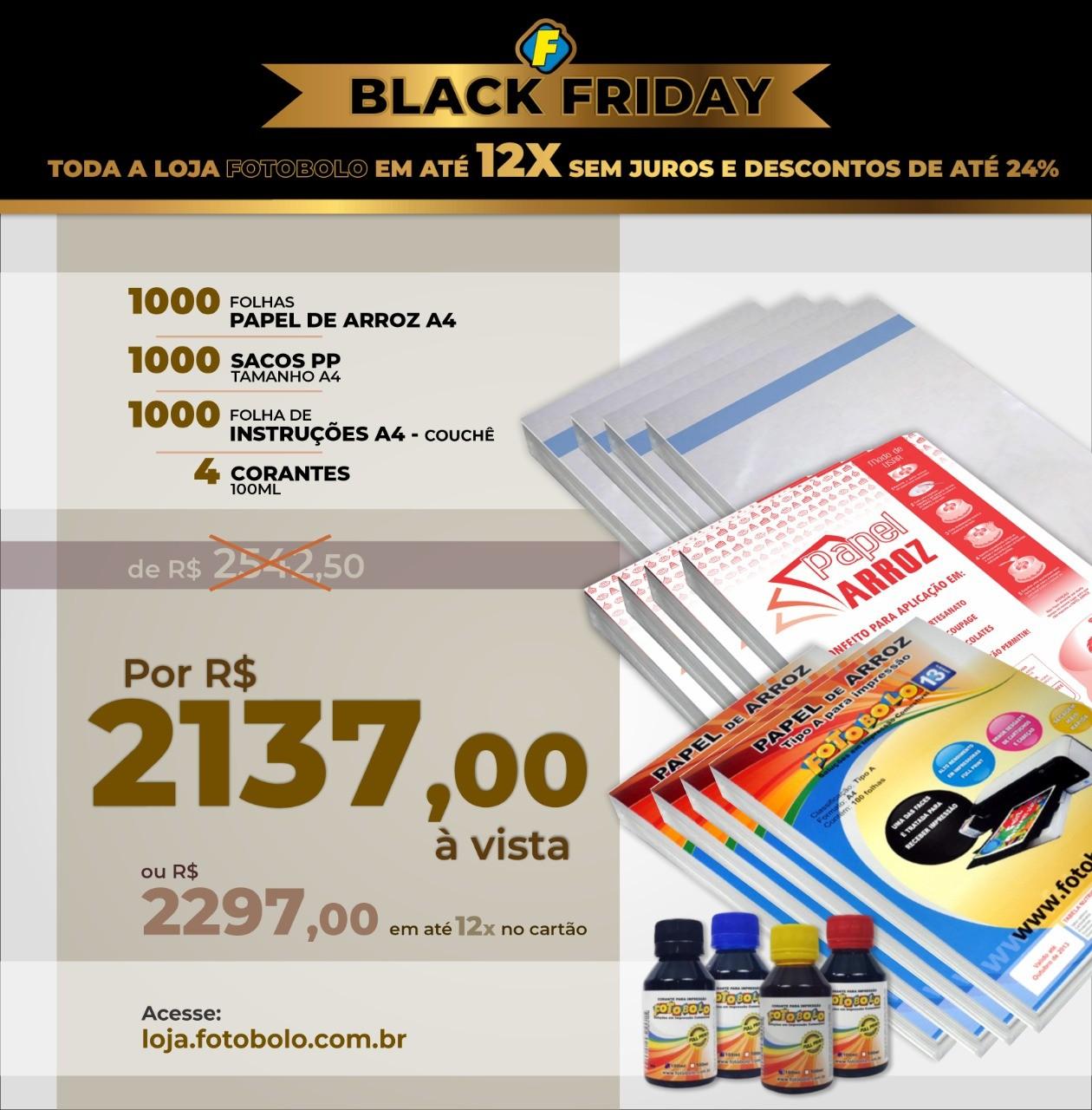 COMBO BLACK FRIDAY - 1000 Papéis Arroz A4 TIPO A + 1000 sacos PP A4 + 1000 Folhas de Instrução A4 + 1 Kit de Corante 100 ( 4 frascos + 4 bicos)
