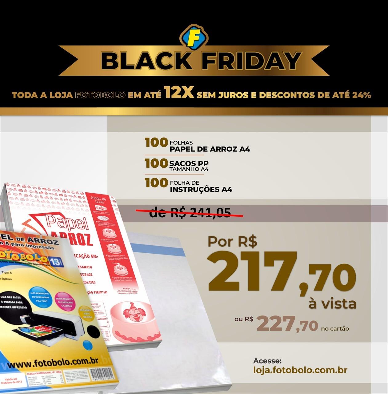 COMBO BLACK FRIDAY - 1 Pacote de Papel Arroz A4 TIPO A com 100 folhas + 100 sacos PP + 100 Folhas de Instrução A4