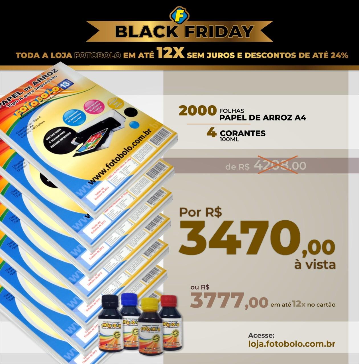 COMBO BLACK FRIDAY - 2000 Papéis Arroz A4 TIPO A + 1 Kit de Corantes 100ml ( 4 frascos + 4 Bicos)
