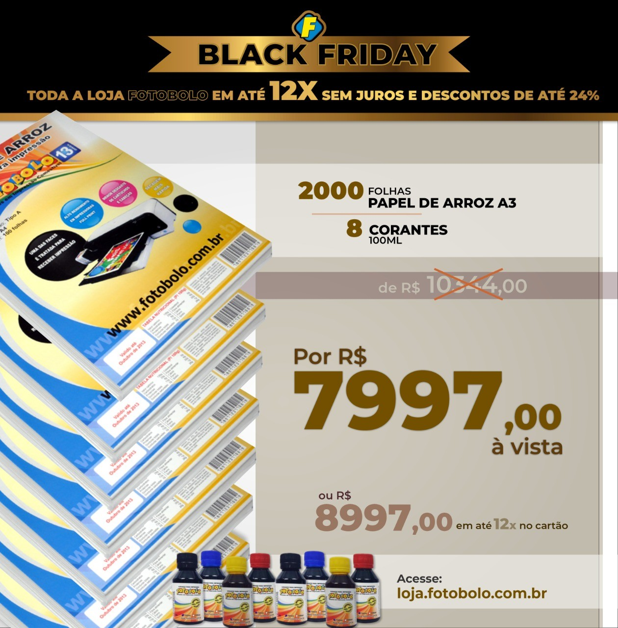 COMBO BLACK FRIDAY - 2000 Papéis Arroz TIPO A A3 + 2 Kits Corante 100ml (8 frascos + 8 bicos)