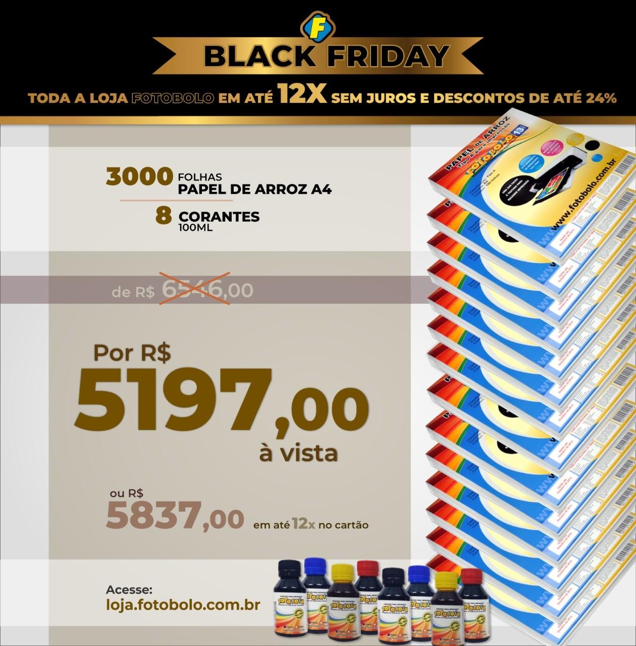 COMBO BLACK FRIDAY - 3000 Papéis Arroz TIPO A A4 + 2 Kits Corante 100ml ( 8 Frascos + 8 Bicos)