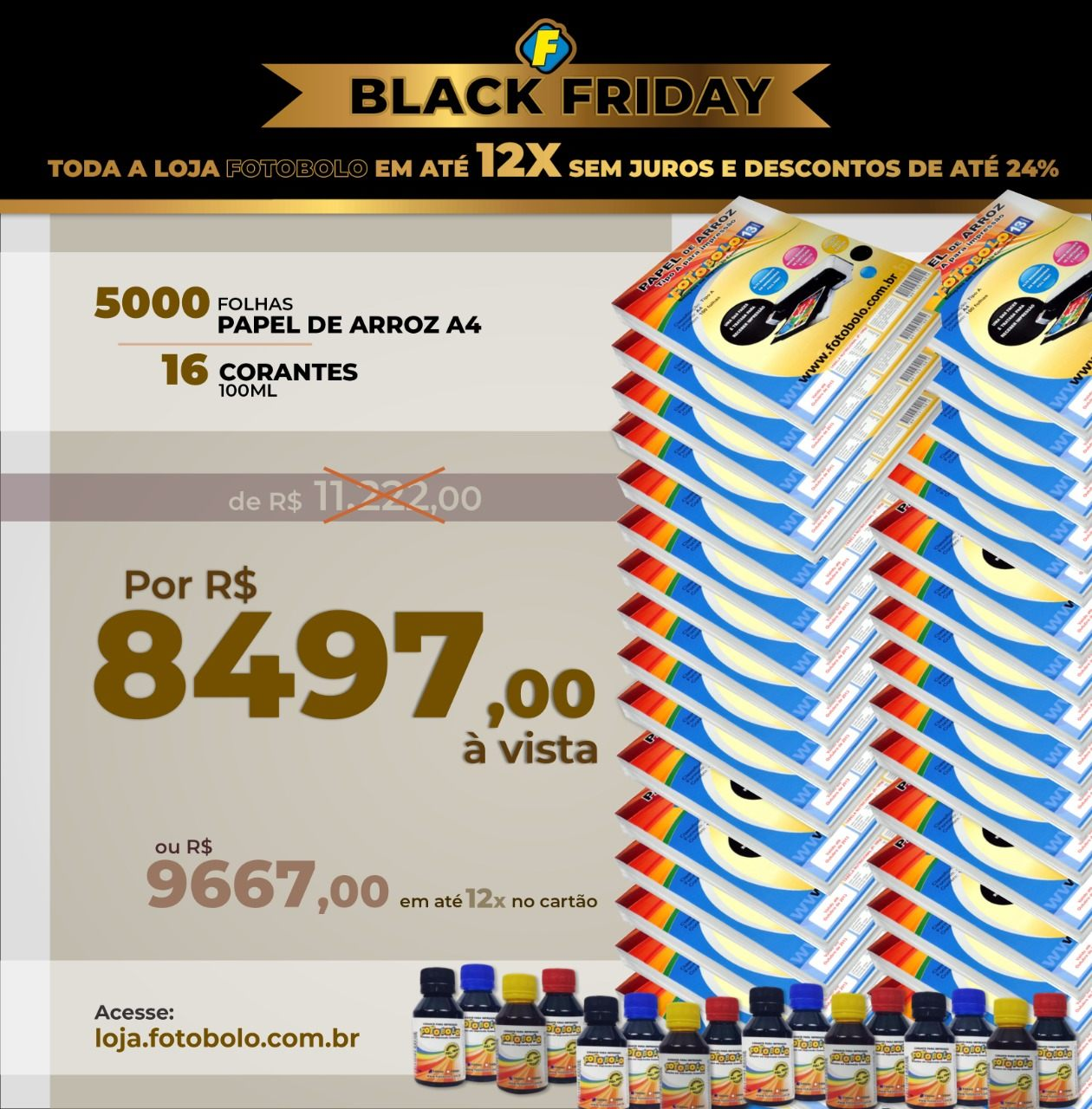 COMBO BLACK FRIDAY - 5000 Papéis Arroz TIPO A A4 + 4 Kits Corante 100ml (16 Frascos + 16 Bicos)
