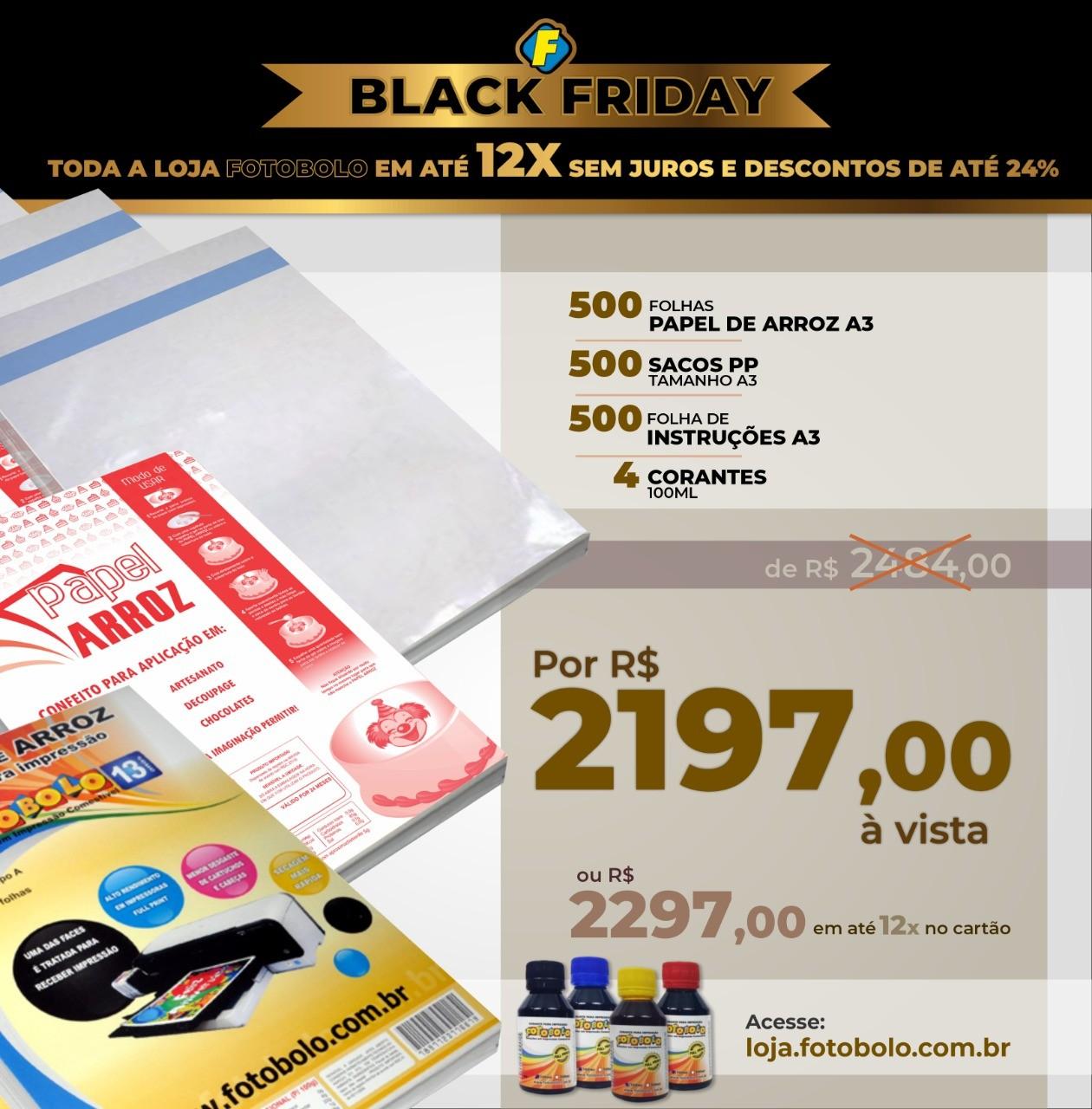 COMBO BLACK FRIDAY - 500 Papéis Arroz TIPO A A3 + 500 Sacos PP A3 + 500 Folhas de Instrução A3 + 1 kit corante 100ml (4 frascos + 4 bicos)