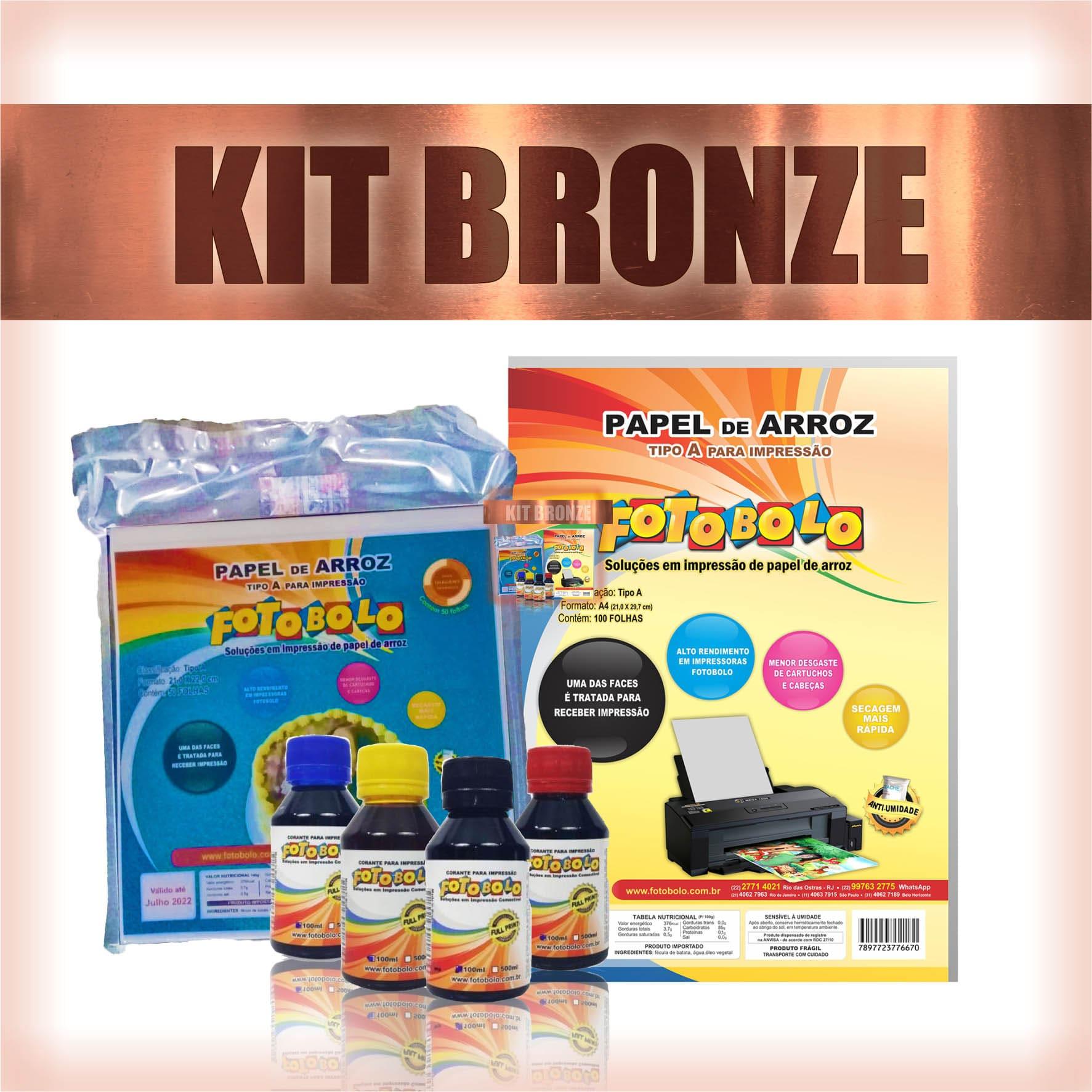 KIT BRONZE - 1 Pacote A4 + 1 Kit corante 100ml + 1 Pacote para tortas e bolos