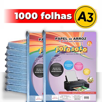 kit 10 pct Papel Arroz A3 -Tipo A -Fotobolo -a vácuo -100 fls