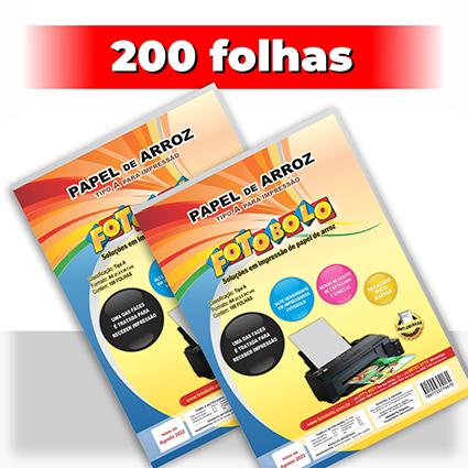 kit 2 pct Papel Arroz A4 -Tipo A -Fotobolo -a vácuo -100 fls