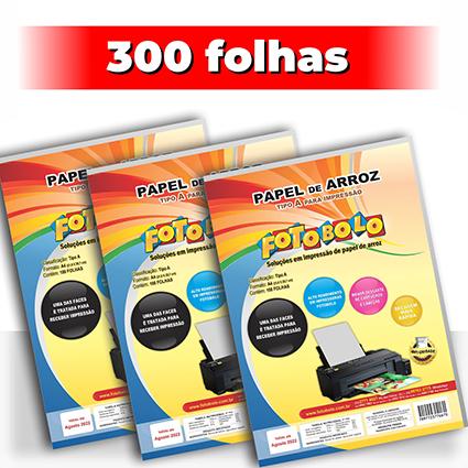 kit 3 pct Papel Arroz A4 -Tipo A -Fotobolo -a vácuo -100 fls