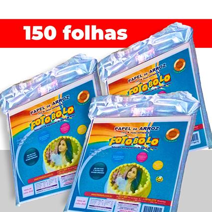 Kit 3 pcts  Papel Arroz em branco p/ Tortas e Bolos Redondos (21X22CM) - à vácuo - c/ 50 Fls