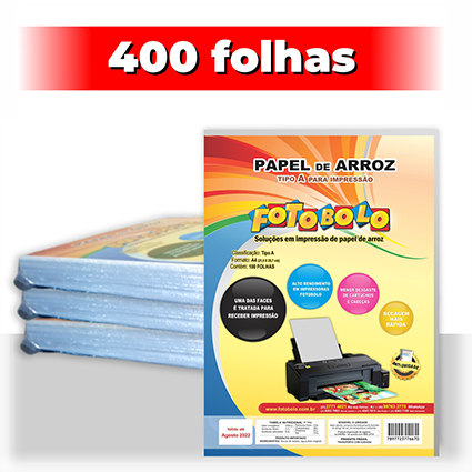kit 4 pct Papel Arroz A4 -Tipo A -Fotobolo -a vácuo -100 fls