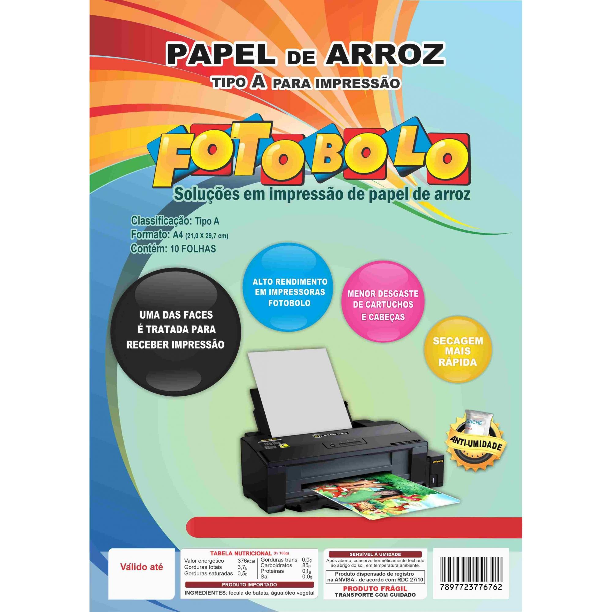 Papel Arroz A4 - Tipo A - Embalado a vácuo - 10 folhas