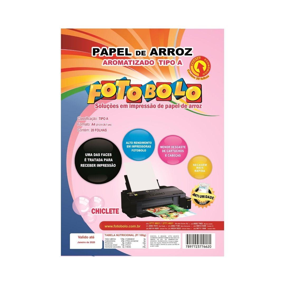 Papel Arroz Tipo A A4 - Aroma Chiclete - Embalado a Vácuo - 20 folhas