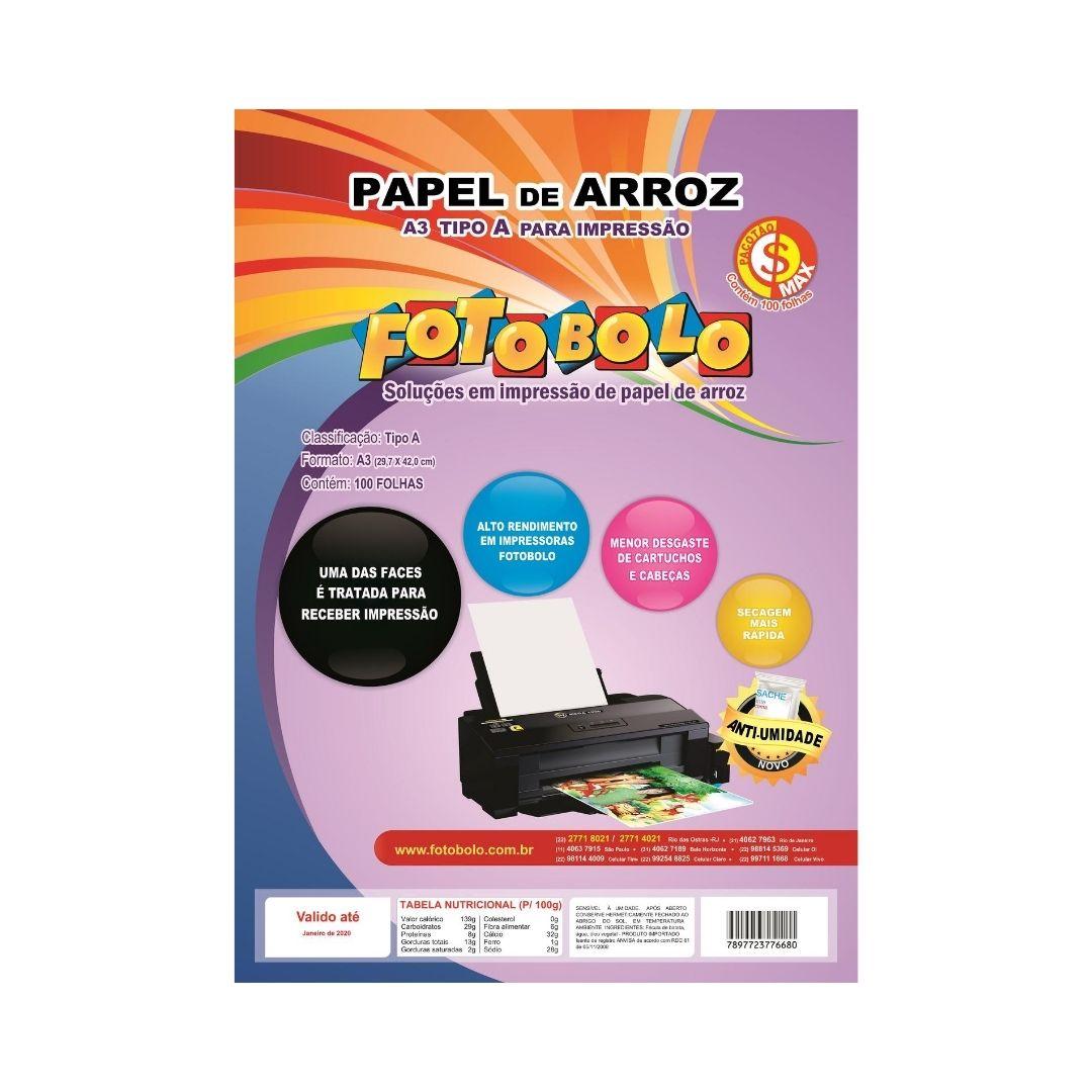 Papel Arroz Fotobolo A3-pct C/ 100 Folhas - Embalado À Vácuo