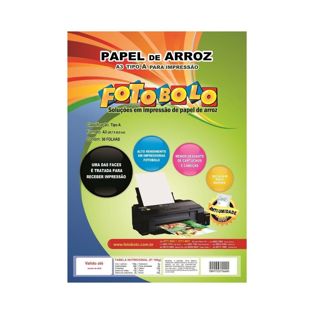 Papel Arroz Fotobolo A3-pct C/ 50 Folhas - Embalado À Vácuo