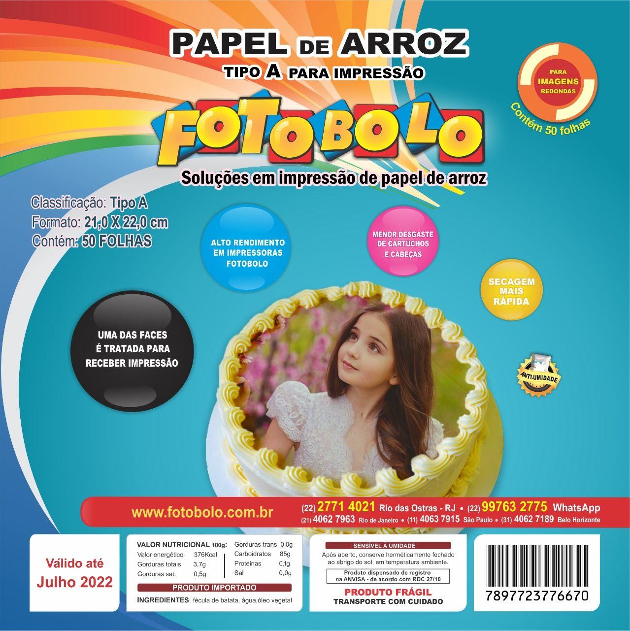 Papel Arroz para Bolos Redondos (21x22cm) - Embalado à vácuo - pacote com 50 folhas