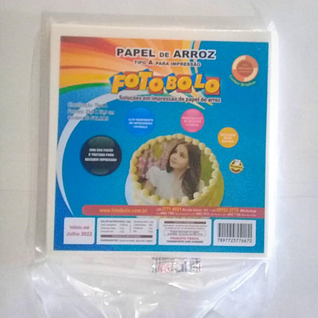 Papel Arroz Fotobolo- tipo A p/ Bolos Redondos e Tortas 21x22 cm - 50 folhas - Embalado a vácuo