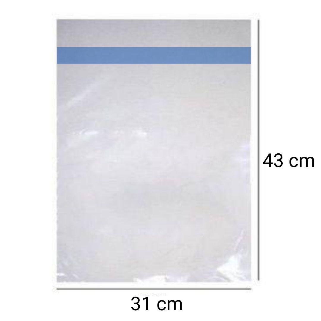 Saco PP p/ papel arroz A3 c/ lacre adesivo - 100 unidades
