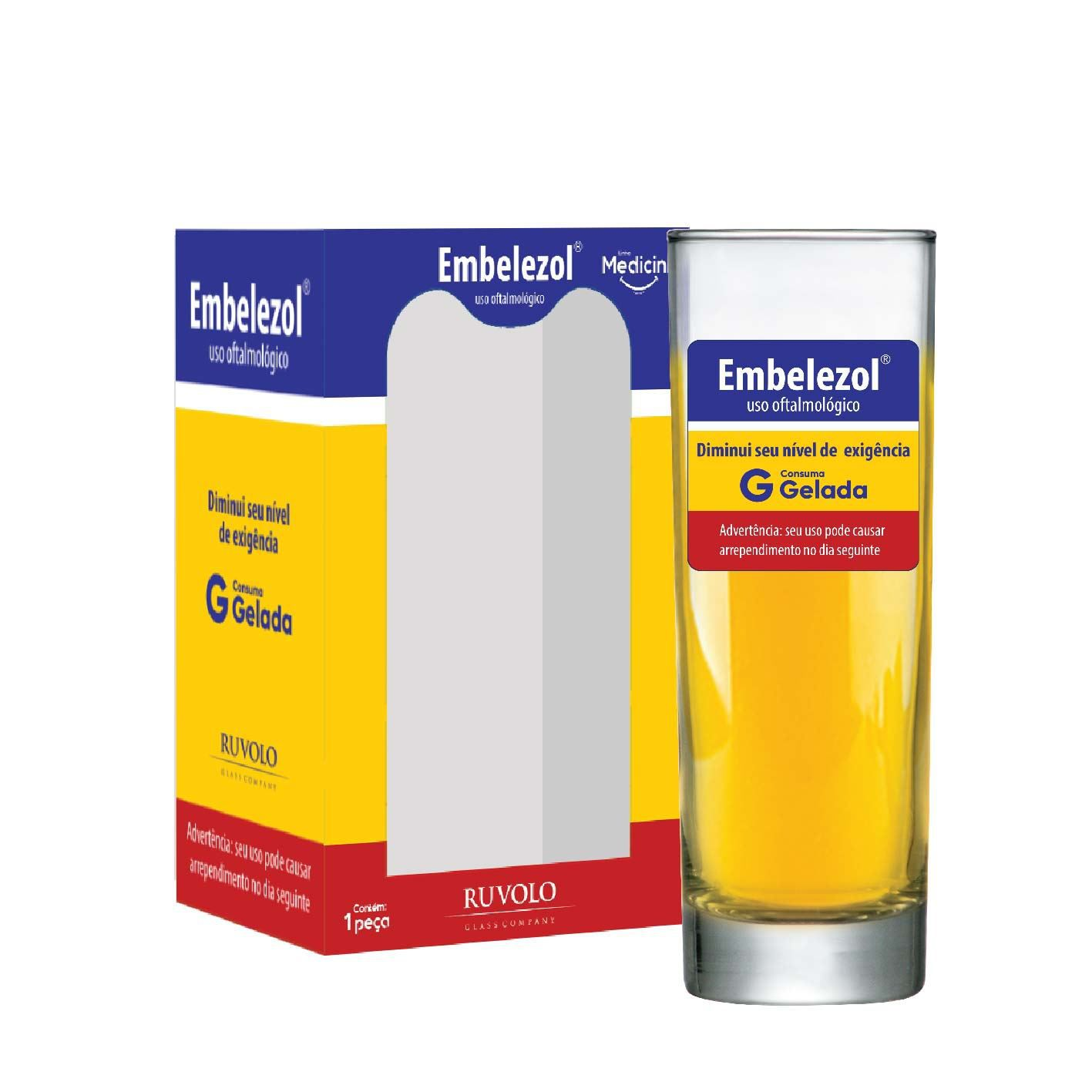 Copo de Água Frases Legais Medicine Embelezol Tubo 300ml