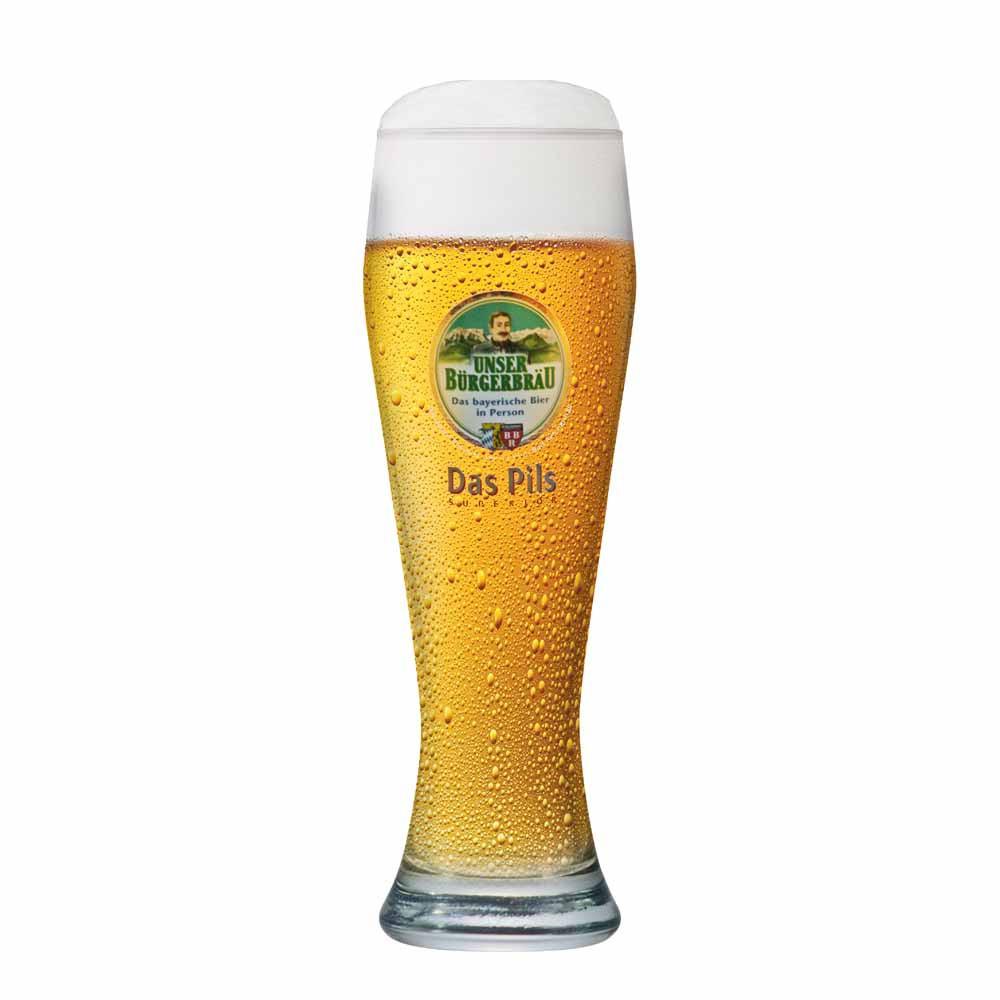 Copo de Cerveja Rótulo Frases Unser Burgerbrau Vidro 630ml